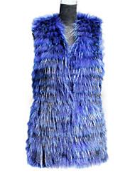 Pelzweste mit ärmellosen Kragen Waschbär Fell Partei / beiläufige Weste (mehr Farben)