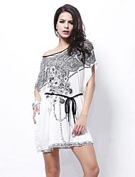 Women's Print Black/Blue/Orange/White Dress , Print/Casual Slash Neck Short Sleeve