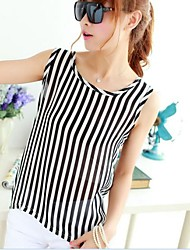 Women's New Fashion Chiffon  Stripe Vest