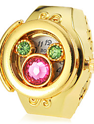 Women's Crystal Cover Gold Alloy Quartz Ring Watch