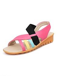 Kunstleder Damen Keilabsatz Slide Sandalen Schuhe (weitere Farben)