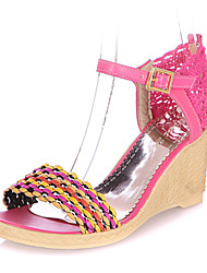 Las mujeres de piel Wedge Heel Plataformas Sandalias Shoes (más colores)