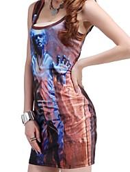 Elonbo Women's Digital Painting Help the Old Man Style Sleeveless High Elastic Sexy Dress
