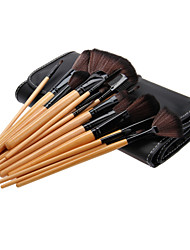 24PCS Birch Handle Makeup Brush Set with Black Leatherette Pouch