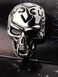 moda masculina de época cráneo ahueca hacia fuera collar de titanio de acero colgante