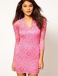 Z & G der Frauen mit V-Ausschnitt, figurbetontes Sexy 3/4 Hülsen-Spitze-Rosa Kleid