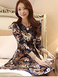 Yishannvlang корейский культивирования с длинными рукавами шею цветопередачи платье (Цвет экрана)