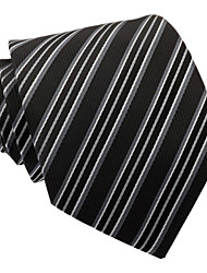 Homens Itália Estilo preto clássico Negócios Lazer Silver Grey Striped Microfibra gravata