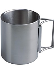 1527 acero acampar al aire libre doble pared de acero de copa de plata (300 ML)