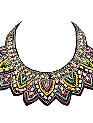 JANE STONE Colorful Neon Beaded Embroidery Handmade Bib Necklace