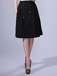 Women's Black Skirts , Vintage Knee-length
