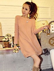 Women's Solid Orange/Pink Dress , Casual/Party Bateau Long Sleeve