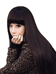 Woman Long Capless Straight Hair Light Brown Synthetic Full Bang Wigs