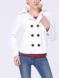 Women's Beige/Red/White Coat , Casual Long Sleeve Cashmere
