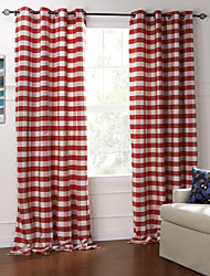 Modern Two Panels Plaid/Check Red Bedroom Cotton Panel Curtains Drapes
