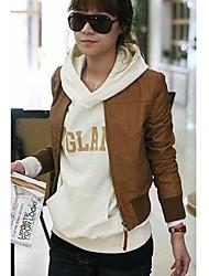 Женская с длинным рукавом воротник PU кожаное пальто