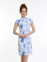 Women's Print / Vintage Print Sheath Dress , Stand Above Knee Silk