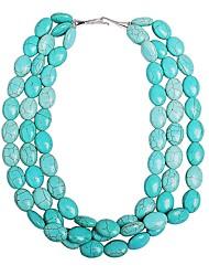 JANE STONE Turquoise Fashion Chunky Statement Necklace