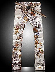 Men's Fashion Flower Color Drawing Print Denim Jeans