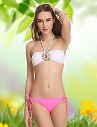 Mujeres VBM Diamante Retro sin tirantes del bikiní del Beachwear atractivo del traje de natación