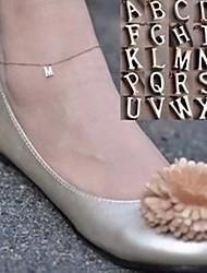 shixin® сладкий простую цепь с английского алфавита женщин сплава золота босиком сандалии (27см * 2 см * 2 см) (1 шт)