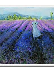 Landscape Lavender Field Framed Oil Painting