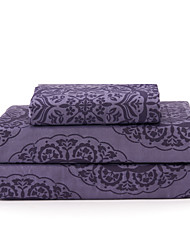 "Sheet Set,4-Piece Microfiber Modern Retro Stripe Floral Purple with 12"" Pocket Depth"