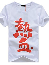 "Mannen ronde hals Katoen Chinese Karakters ""The Blood"" met korte mouwen T-shirt"