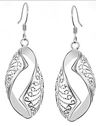 MISS U Women's Elegant Cut Out Silver Printing Earrings