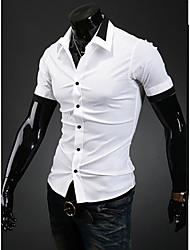 Midoo à manches courtes de couleur pleine de V Neck Shirt (Blanc)