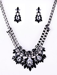 luxurious Stone Set Flower Earrings and Necklace