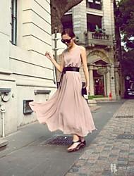 Frauen Round Kragen Nude Farbe Chiffon-Maxi Kleid Schwingen