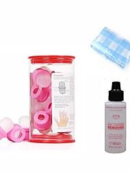 Nail Art Remover Kits (10 Stück Gummi UV Nail Remover, 60ml UV-Nagellack-Entfernen Flüssige & 1m reiner Baumwolle Handtuch)