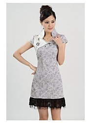 Women's Lace Plaid A Line Dress , Stand / V Neck Above Knee Silk