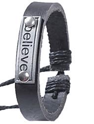 QINUO Английский Письма сплава Простой кожаный браслет