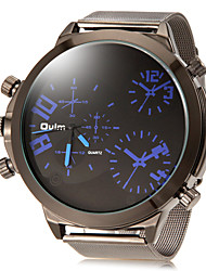 Men's Dual Time Zones Simple Round Dial Alloy Band Quartz Analog Wrist Watch (Assorted Color)