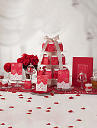 Jubilant Red Wedding Collection Set (50 Invitations,50 Favor Boxes,10 Place Cards,1 Guest Book)