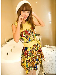 Women's Cute Dress Midi Sleeveless Yellow Silk Summer