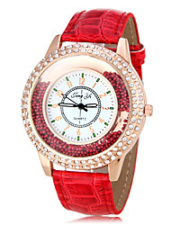 Women's Rolling Beads Diamond Case PU Band Quartz Wrist Watch (Assorted Colors)