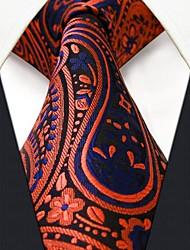 P18 Shlax & Wing Extra Long Size Necktie Paisley Blue Navy Orange Men Tie Jacquard Weave