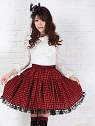 School Girl angelical Sexy Plaid Goth Punk Lolita Rojo y Negro Club de Faldas