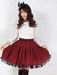 Jupe Punk Elegant Cosplay Vêtements de Lolita Rouge Imprimé Lolita Moyen Jupe Pour Femme Polyester