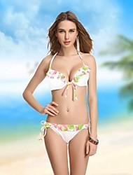 Women's Bandeau Bikinis , Floral/Ruffle Push-up/Wireless/Padded Bras Nylon/Spandex White