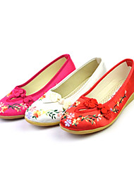 Women's Satin With Flower Dance Shoes Ballroom Flats Shoes (More Colors)
