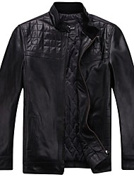 Men's Short Sleeve Jacket,Calfskin / Leather Solid Black