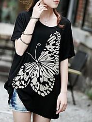 Women's Print Black/White T-shirt , Round Neck ½ Length Sleeve