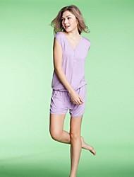 Весной и летом Мода Досуг Дамы Sleevless Брюки Сиамские Главная Обстановка Wear