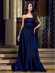 Formal Evening Dress - Dark Navy Plus Sizes / Petite A-line Strapless Floor-length Taffeta