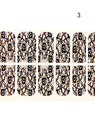 12PCS de fleur à six pétales Forme Black Lace Nail Art Stickers N ° 3