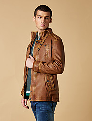 Gentleman Persoonlijkheid in Long Man Leather Jacket